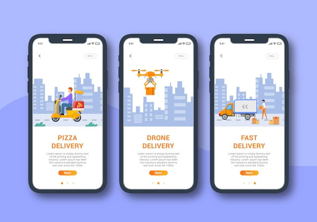 Delivery app set of onboarding screen mobile ui