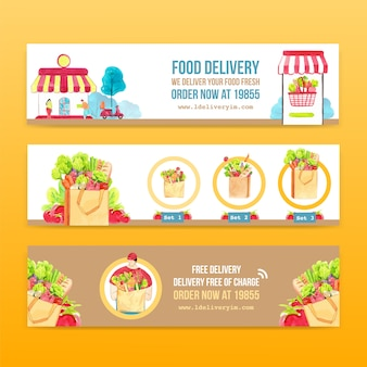 Delivery banner design with food,vegetable,transportation and logistic watercolor illustration.