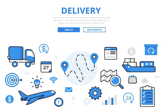 Delivery banner in flat style