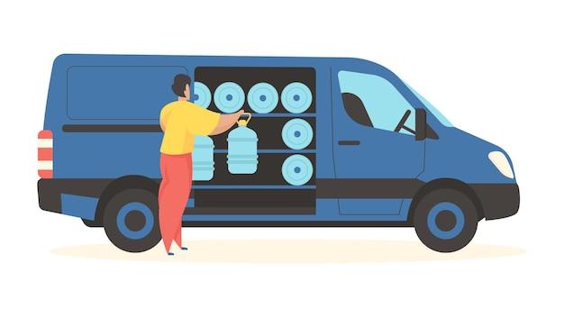 ボトル入り飲料水を配達する男性キャラクターがプラスチック容器を車から降ろす