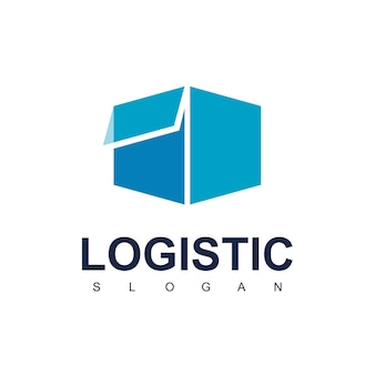 Delivery box for logistic logo design vector