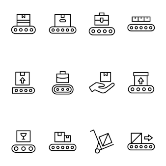 Delivery box shipping line icons pack
