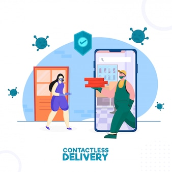 Delivery boy and customer woman wearing medical mask with approval security shield in smartphone for contactless delivery concept.