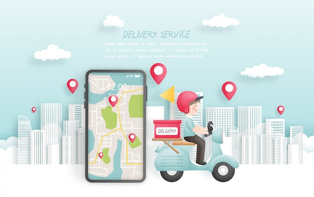 Delivery boy delivering a package to town with scooter, online booking.  illustration