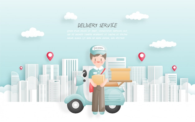Delivery boy delivering package to town with scooter. paper cut style.  illustration.