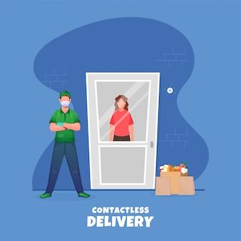 Сумка для продуктовых продуктов мальчика доставки кладет рядом с бесконтактным клиентом у двери на синем фоне во избежание коронавируса.