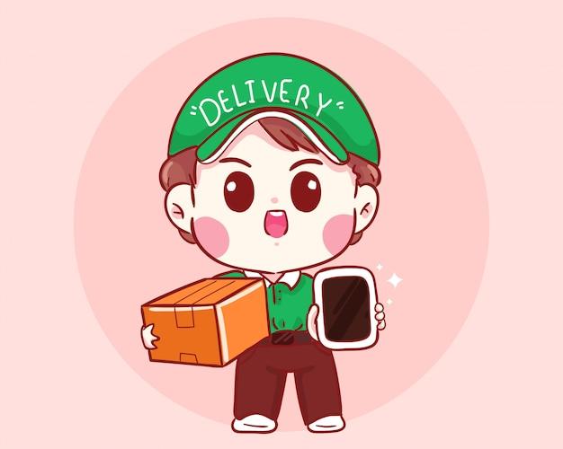 Мальчик доставки держит коробку и мобильный мультфильм иллюстрации
