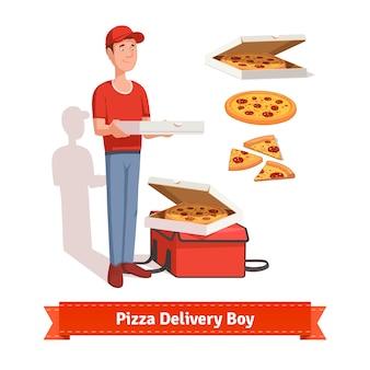피자 골 판지 상자를 들고 배달 소년