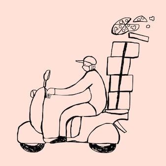 ピンクの背景にスクーターの配達少年