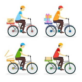 Мальчик доставки на велосипеде.