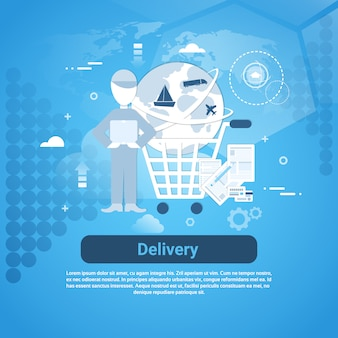 Delivery business template web banner with copy space
