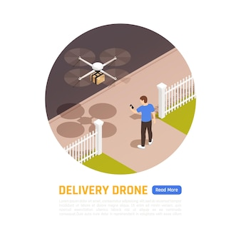 Delivery by drone. illustration of quadcopter delivery a package