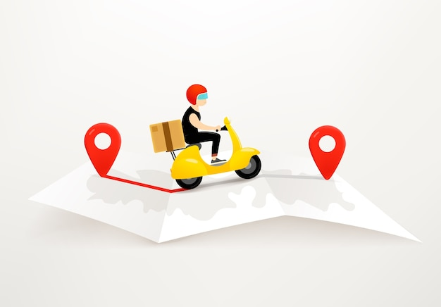 Delivery by scooter  concept