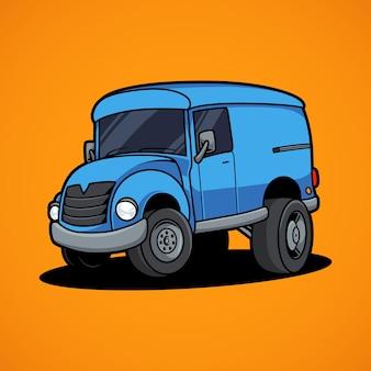 Delivery car on orange