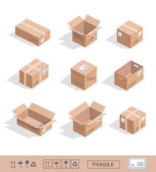 Delivery cardboard boxes collection icons opened, closed, sealed
