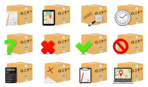 Delivery cardboard boxes with handling and packing objects and signs