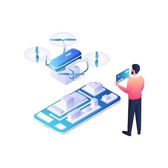 ドローンとウェブ決済の等角図による配達貨物。男性キャラクターは青いクレジットカードを受け取り、青い線で現代のクワッドコプターを支払います。小包とオンラインドローンサービスのコンセプト。
