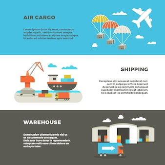 Delivery cargo transportations banners