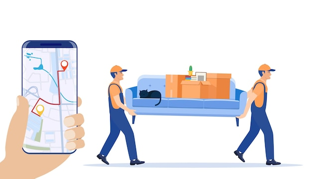 Delivery character man movers carry sofa and smartphone with map app.