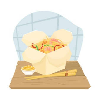 Delivery of chinese food in boxes to your home. asian food in boxes. fried noodles with shrimp and vegetables.  lay illustration.