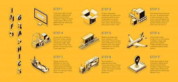 Delivery company isometric infographics
