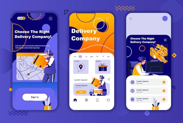 소셜 네트워크 스토리를위한 배달 회사 모바일 앱 화면 템플릿