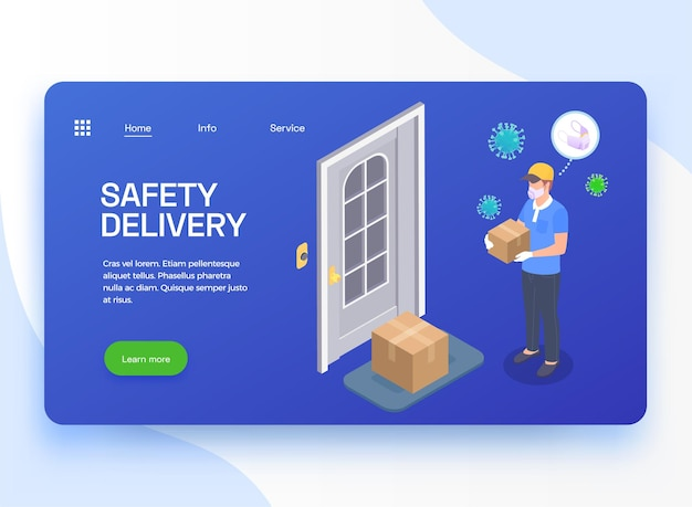 Delivery company service isometric landing page banner