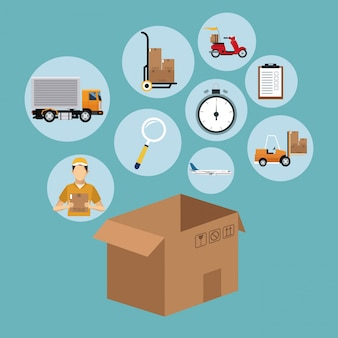 Delivery concept cardboard box collection icons