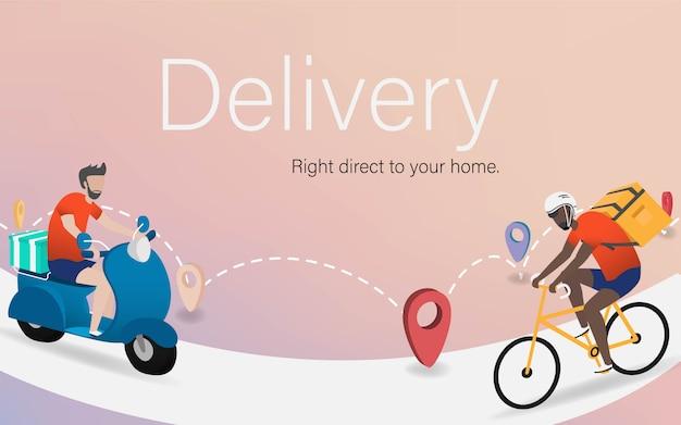 Концепция доставки. доставка мотоцикла и велосипеда с коробкой для доставки в цифровом дизайне. новая эра революции в сфере доставки. фон фоновой целевой страницы сайта