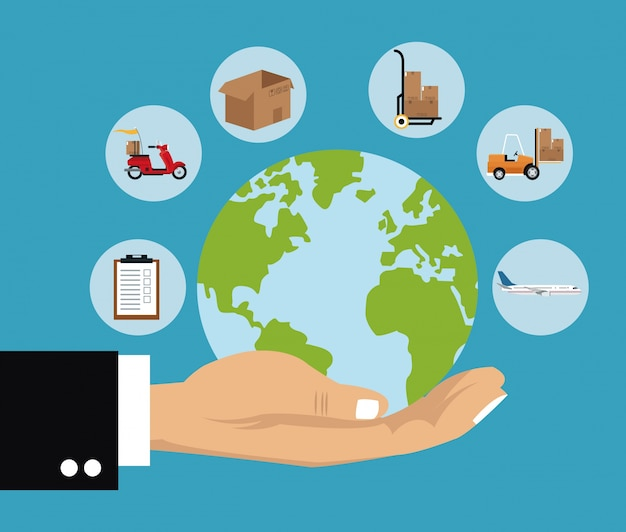Delivery concept hand holds globe shipping cargo