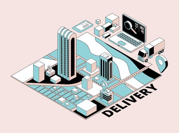 Концепция доставки. ретро-изометрическое логистическое планирование, город и транспорт