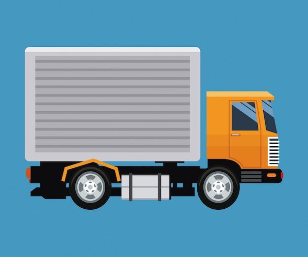 Концепция доставки грузовой транспорт синий фон