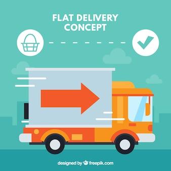 Concetto di consegna con camion veloce
