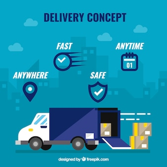 Delivery concept with icons and truck