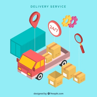 Delivery concept with isometric perspective
