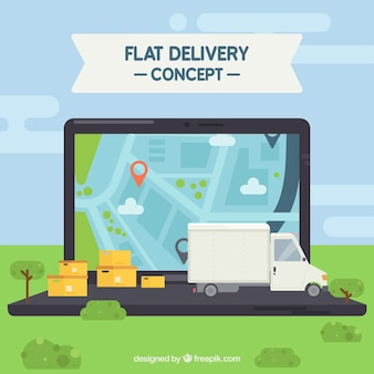 Delivery concept with laptop Premium Vector