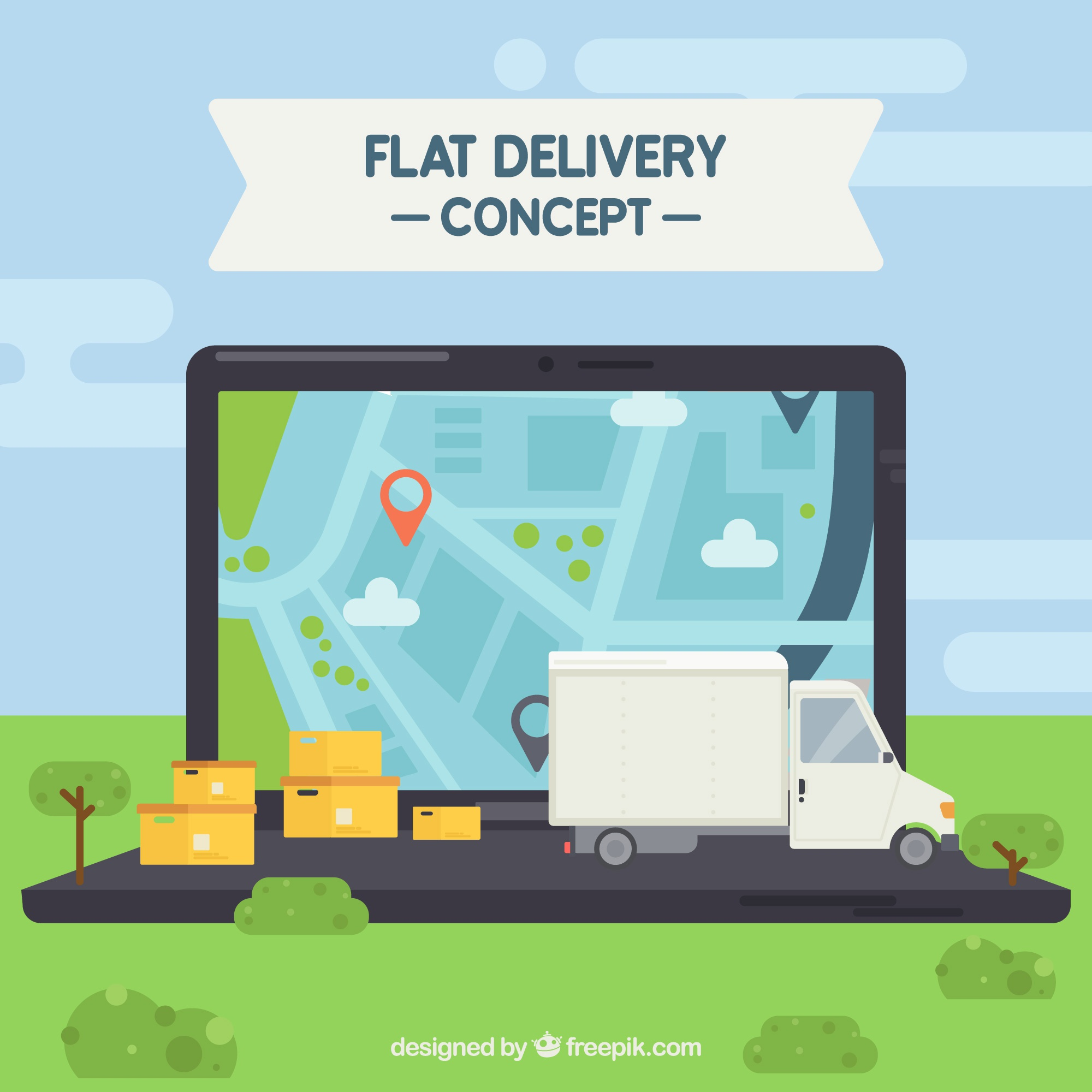 Delivery concept with laptop