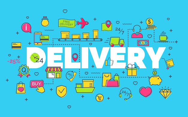 Delivery concept with modern thin line flat icons on blue