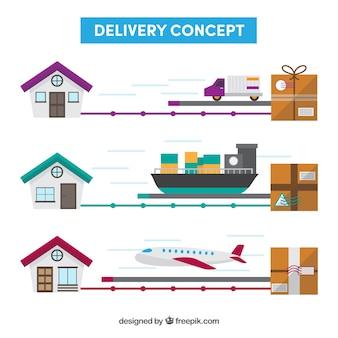 다양한 운송 수단을 갖춘 배송 컨셉