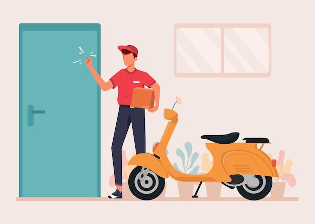 Delivery courier deliver package flat design