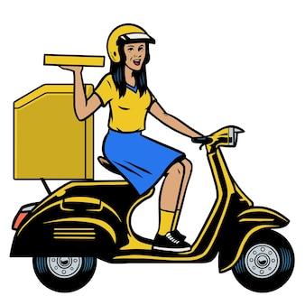 古いスクーターに乗って配達宅配便の女性