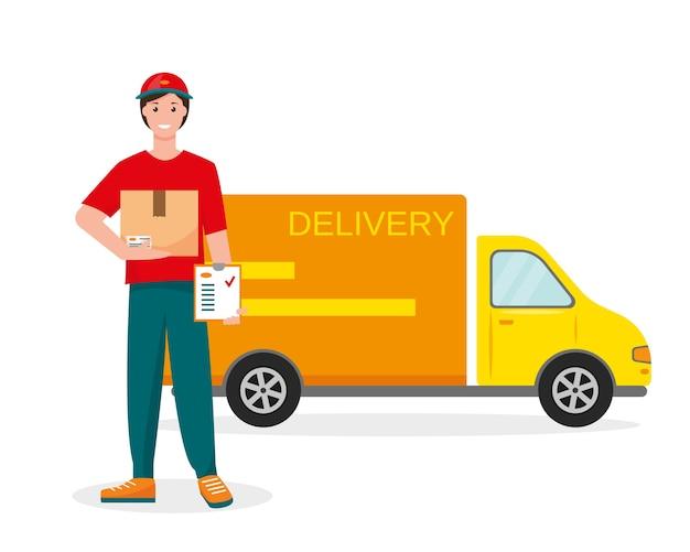 Курьер доставки с картонной коробкой и списком заказов и автомобилем доставки