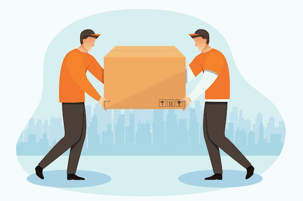 Delivery courier men with a box