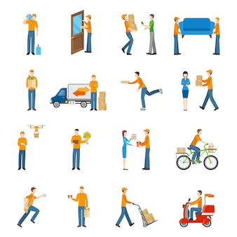 Delivery courier people icons set