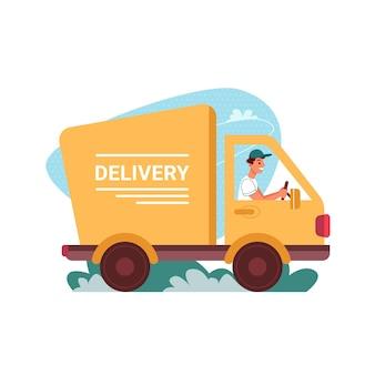 配達バンエクスプレスでベクトルフラット漫画アイコン男のドライバーを配達の配達宅配トラック車