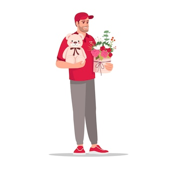 Delivery of different gifts semi flat rgb color vector illustration. worker hold plush and bouquet. caucasian male courier in red uniform isolated cartoon character on white background