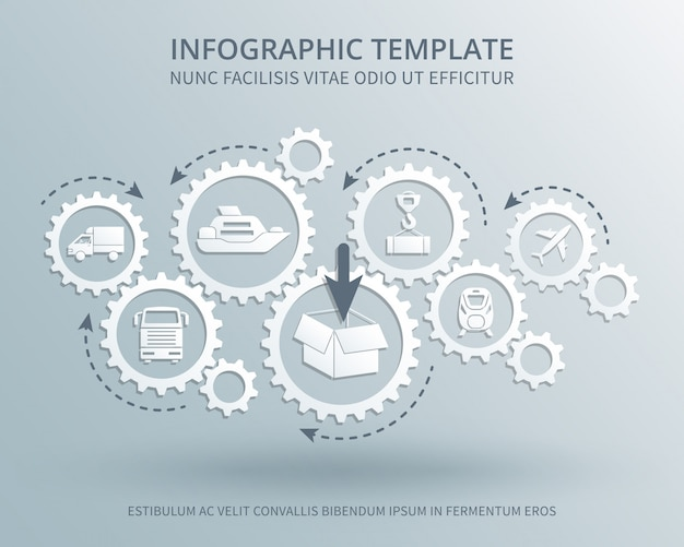 Delivery and distribution business vector consept with gears mechanism, transport, packing and shipping icons