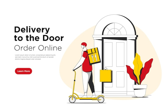 Delivery to the door service banner