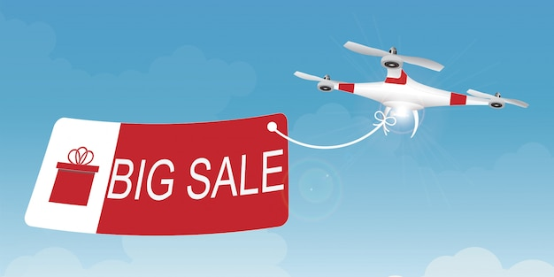 Delivery drone carrying a shopping sale.