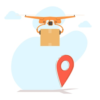 Delivery drone flying with package box and location symbol